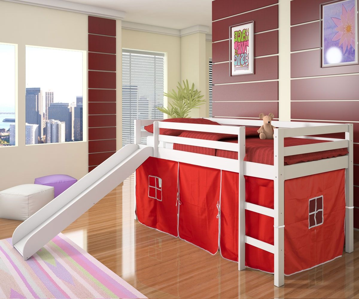 Fire truck loft bed with slide  Excellent Low Kids Loft Bunk Bed Idea for Toddler in White Color