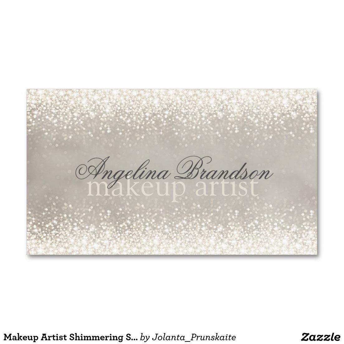 Makeup Artist Shimmering Soft Silver Beauty Card Double Sided