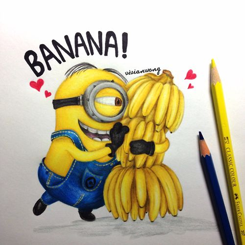 Bananas And Minion Drawing In Color Pencils Original Artwork By