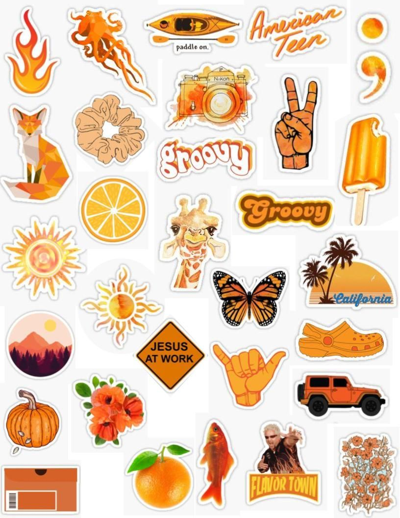 Orange Sticker Pack bright orange dark orange sticker
