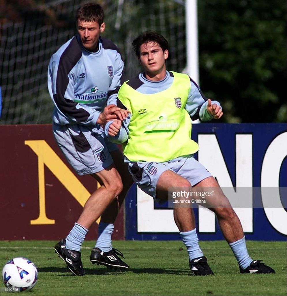 Frank Lampard battles with Chris Sutton during England training in preparation for the friendly against Belgium at Bisham Abbey, London. Mandatory Credit: Laurence Griffiths/ALLSPORT