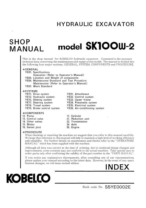 Kobelco Sk100w 2 Excavator Service Manual Excavator Manual Hydraulic Systems
