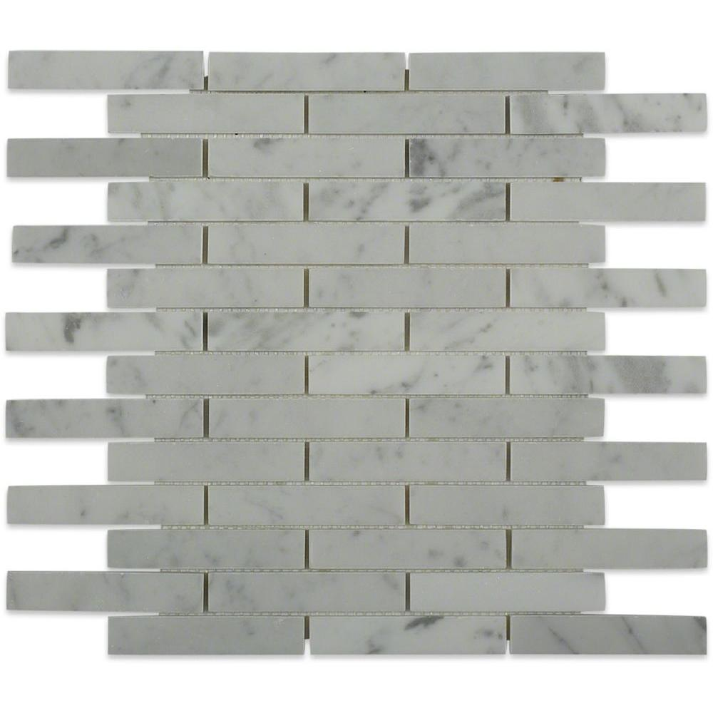 Big Brick White Carrera 12 in. x 12 in. x 8 mm Mosaic Marble Floor ...