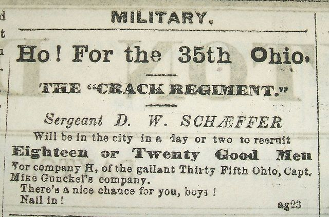 Recruitment Ad For The 35th Ohio Volunteer Infantry 35th O V I