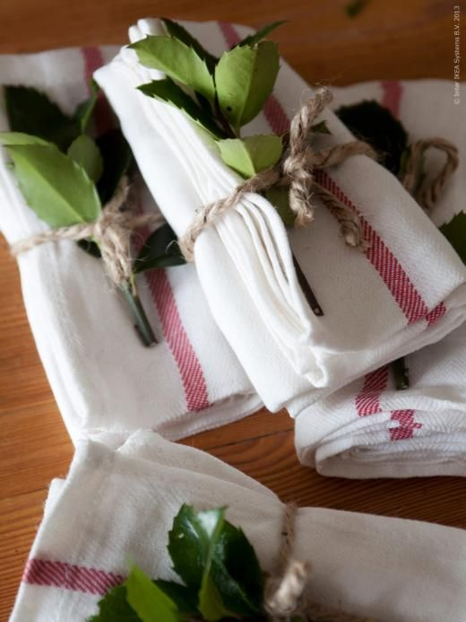 red striped linen towels & greens