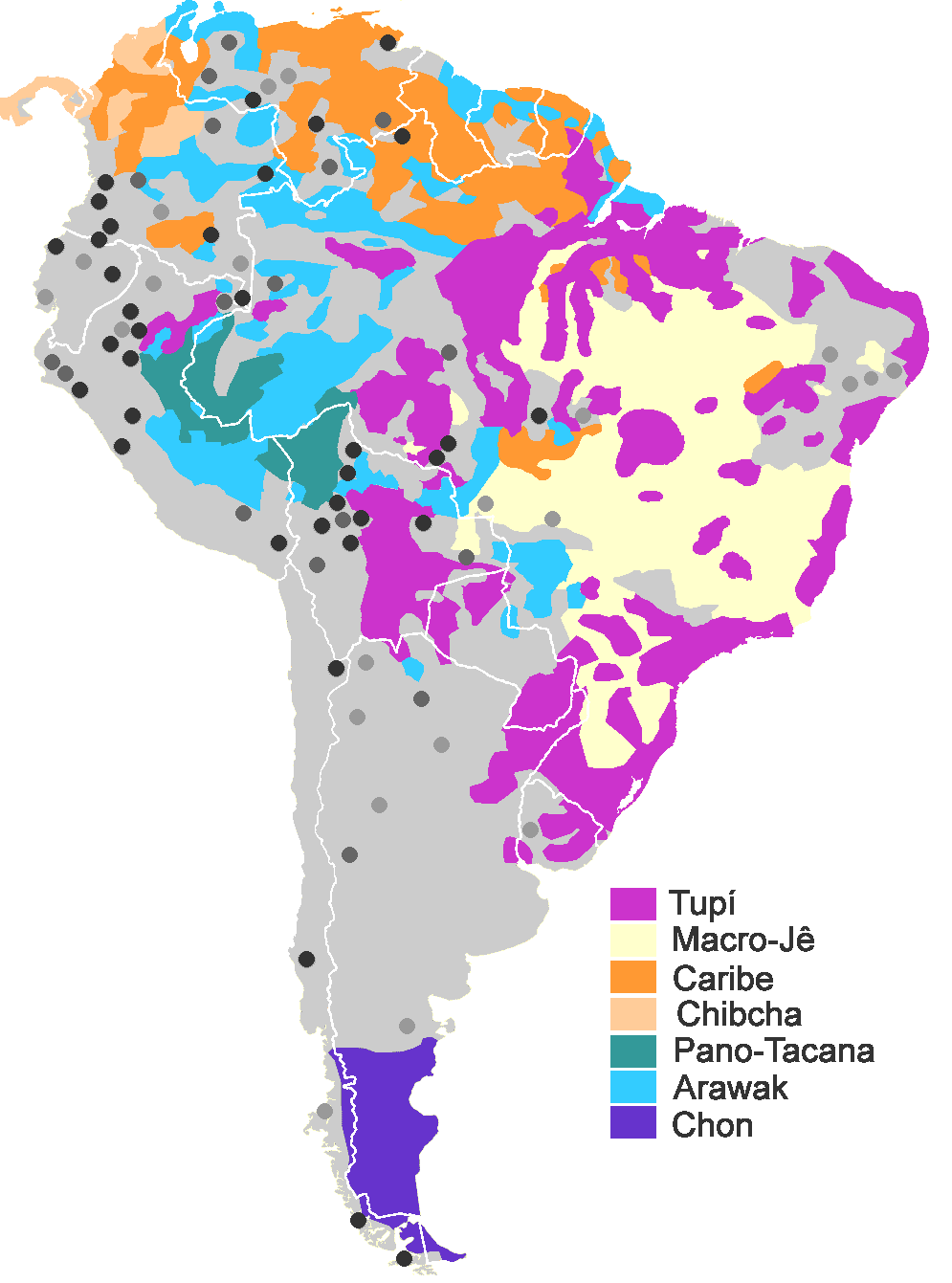 Map of South American native language families. Legend: colors for ...