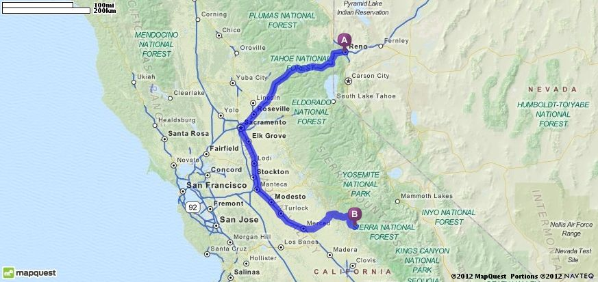Driving Directions From Reno Nevada To Oakhurst California - Mapquest california