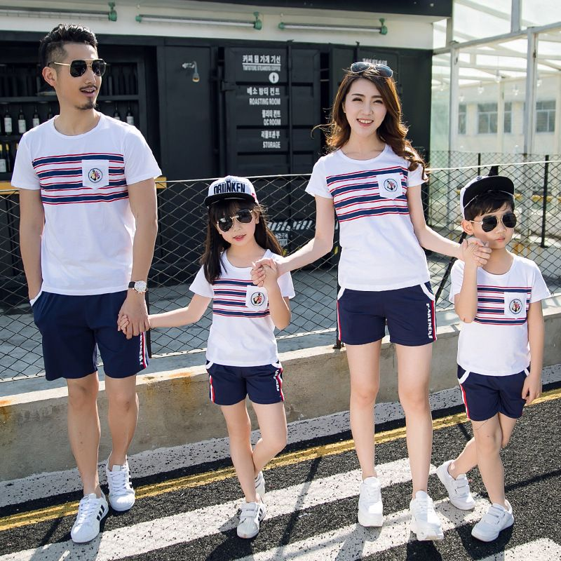 a39c802a7b2c Wholesale summer new Korean striped beach Children t-shirt Dad Mom Kids tshirt  family matching outfits Couples clothing