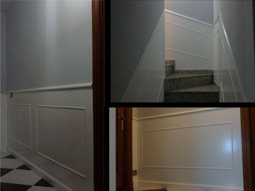 Friso en pasillo y escalera sotano pinterest for Friso madera pared