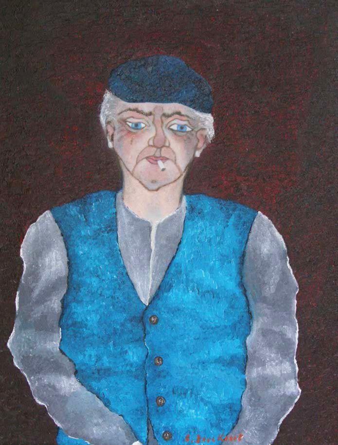 Boer Achiel - schilderij (portret) van Vlaams impressionistisch schilder Betty Bouckaert
