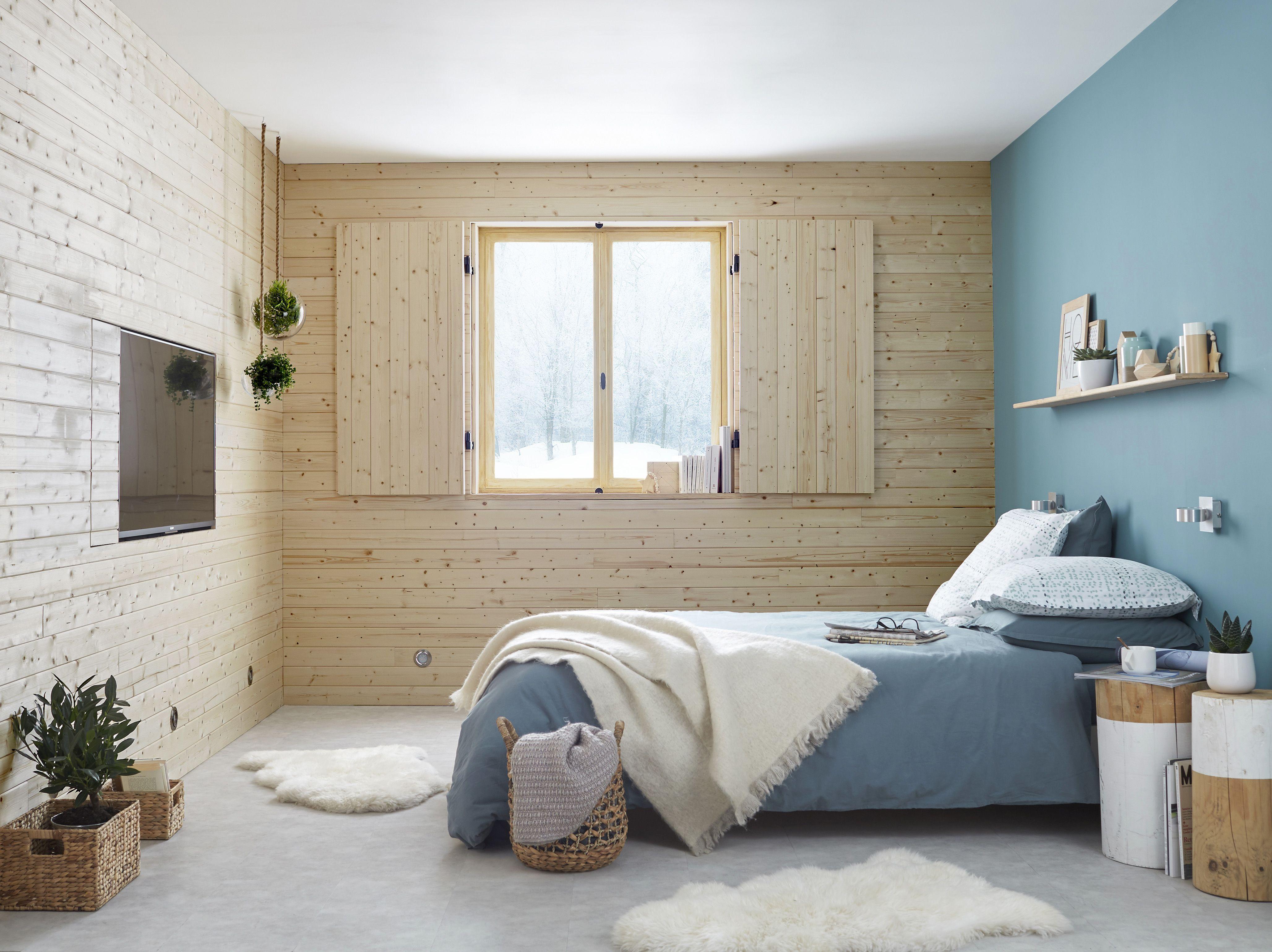 chambre adulte cocoon l 39 esprit scandinave avec les murs en bois clair chambre cocoon. Black Bedroom Furniture Sets. Home Design Ideas