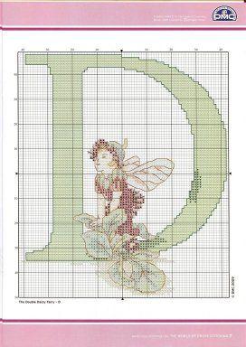 Cross stitch - fairies: Flower fairies alphabet - D: double daisy fairy - Cicely Mary Barker (chart)