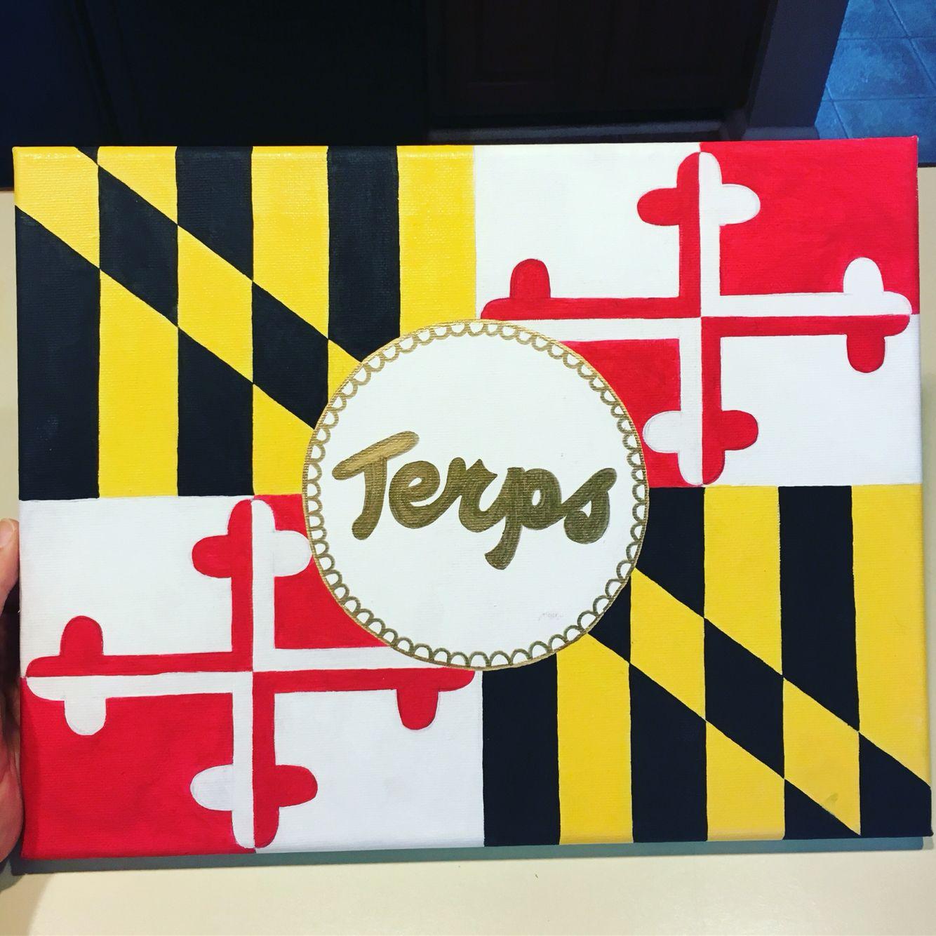 University Of Maryland Flag College Dorm Canvas College Dorm Canvas Dorm Canvas Sorority Crafts