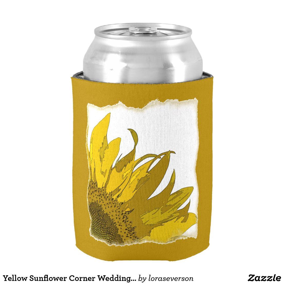 Yellow Sunflower Corner Wedding Favors Can Cooler | Wedding koozies ...