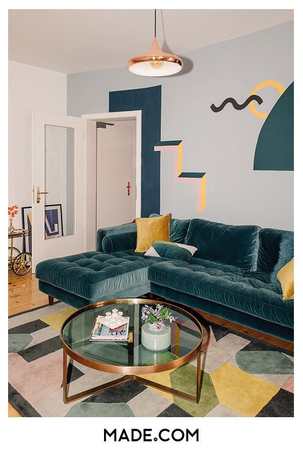 Meet The Berlin Photographer Bringing Colour Into Our Feeds Art Deco Living Room Blue Velvet Sofa Living Room Velvet Sofa Living Room