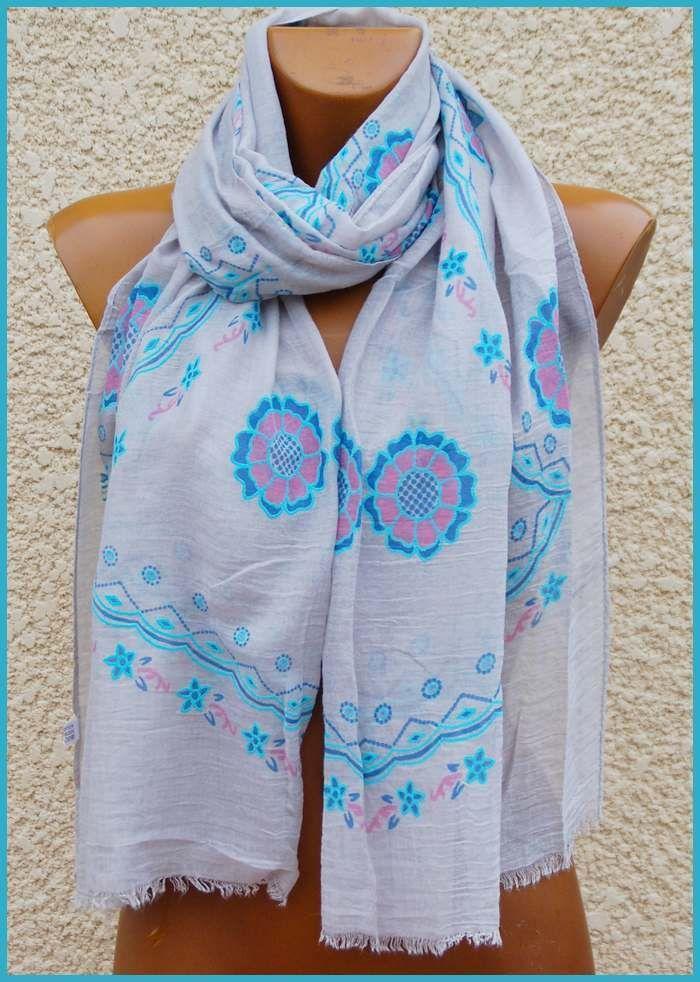 Foulard echarpe etole femme hippie chic gris fleurs turquoise   rose ... 474d21a6003
