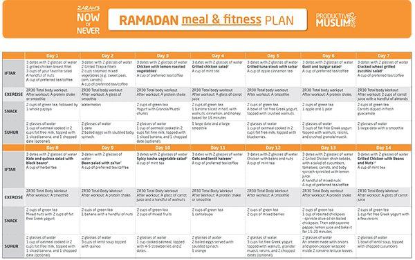 The Fasting And The Fit 30 Day Ramadan Meal And Fitness Plan Productivemuslim Com Ramadan Diet Ramadan Recipes Ramadan Tips