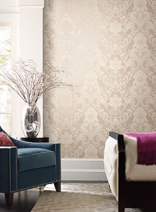 Formal Lacey Damask Wallpaper in Gold design by York ...