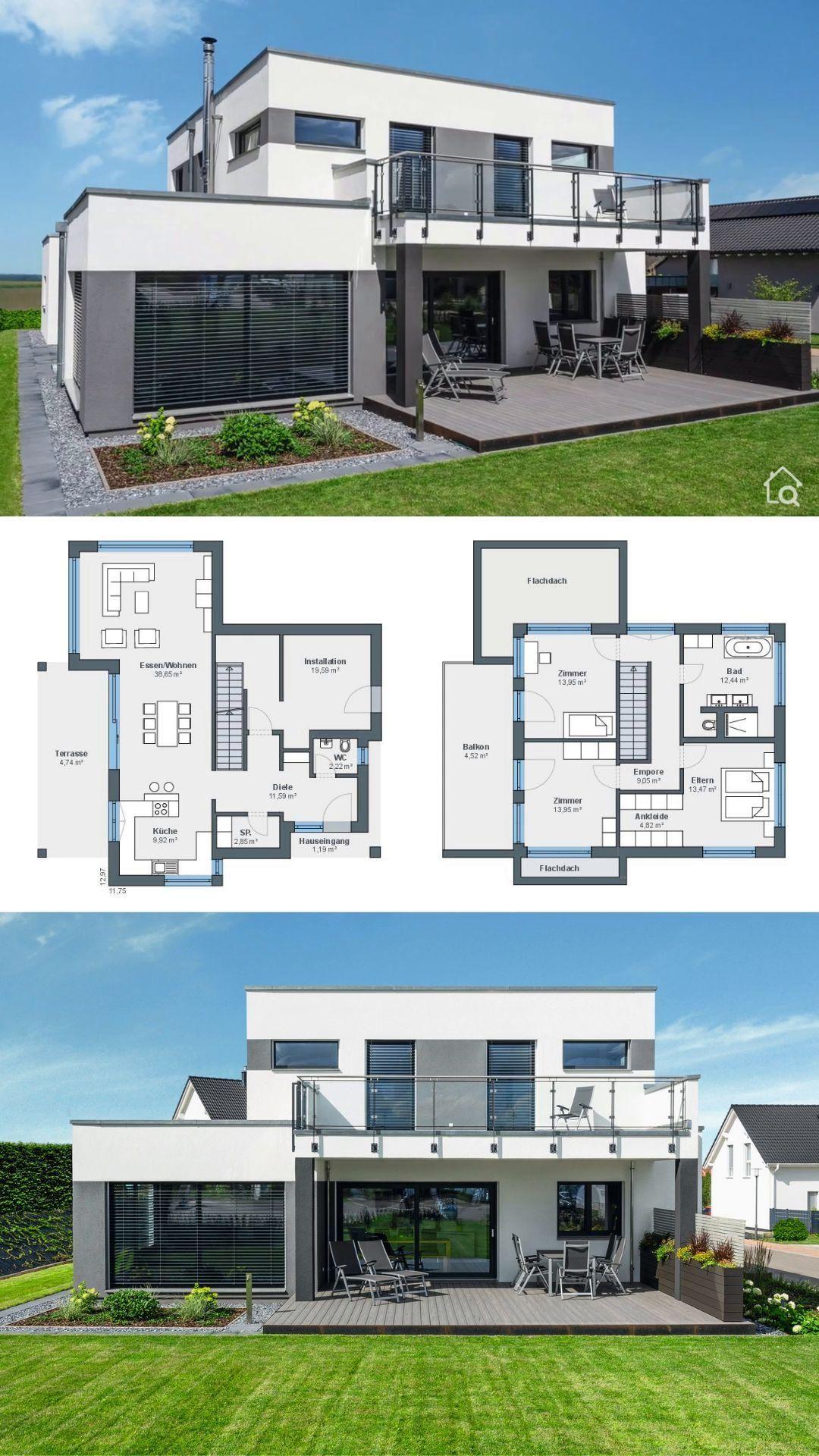 Moderne Einfamilienhaus Architektur mit Flachdach & offenem Haus Grundriss, Hausbau Ideen Fertighaus