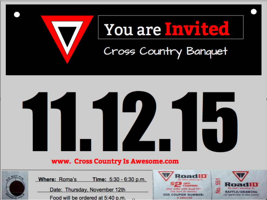 A cross country banquet invitation that i created in google draw a cross country banquet invitation that i created in google draw i wanted it to stopboris Images