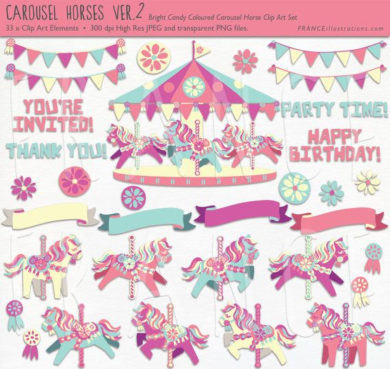 UPDATED Bright Candy Carousel Horse Clip Art MEGA pack. Pretty Little Pony. Cute Childrens Scrapbook Party Art. For Invitations, Wall Art.