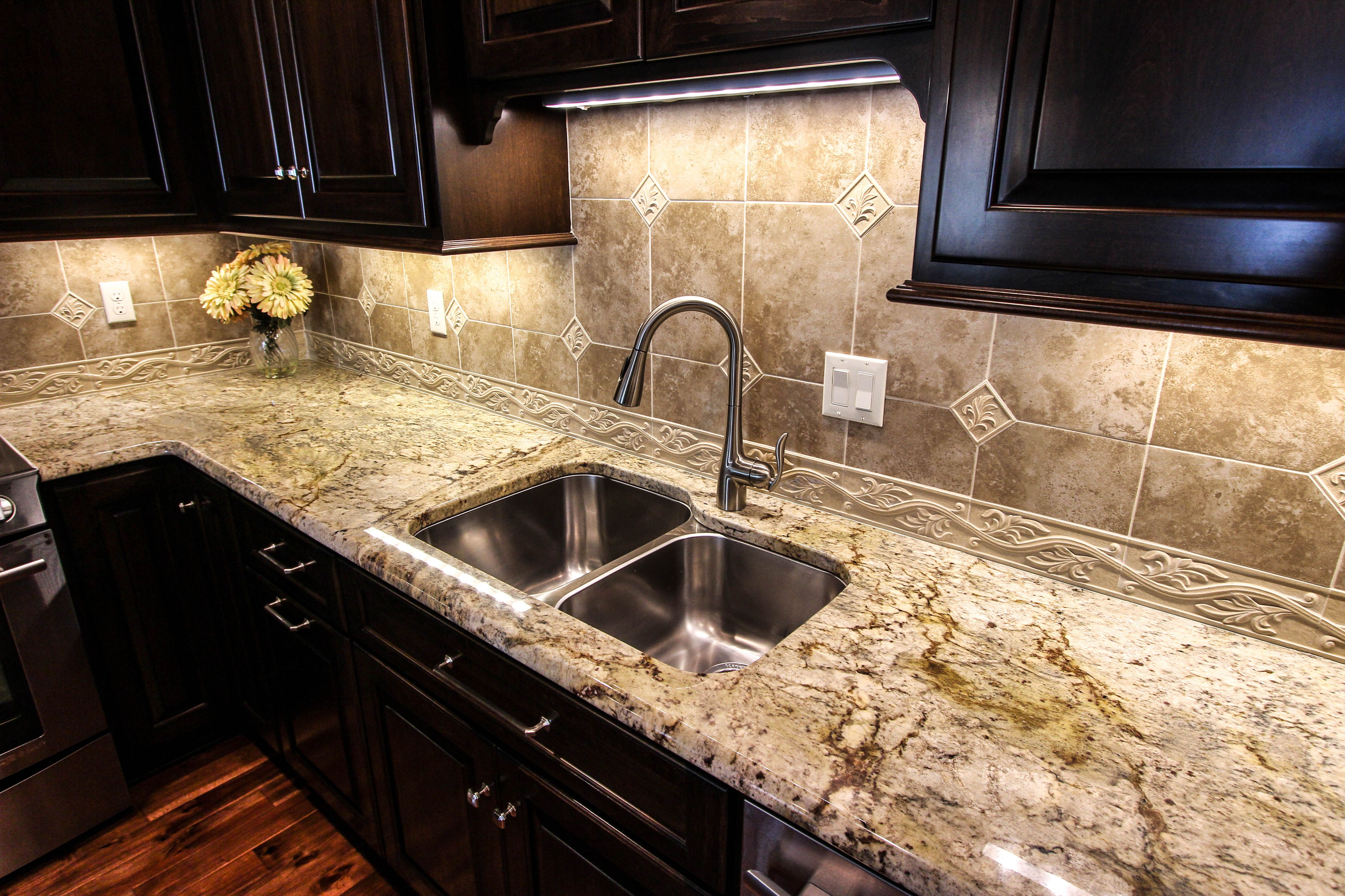 Practically glowing granite kitchen countertops Fabricated and