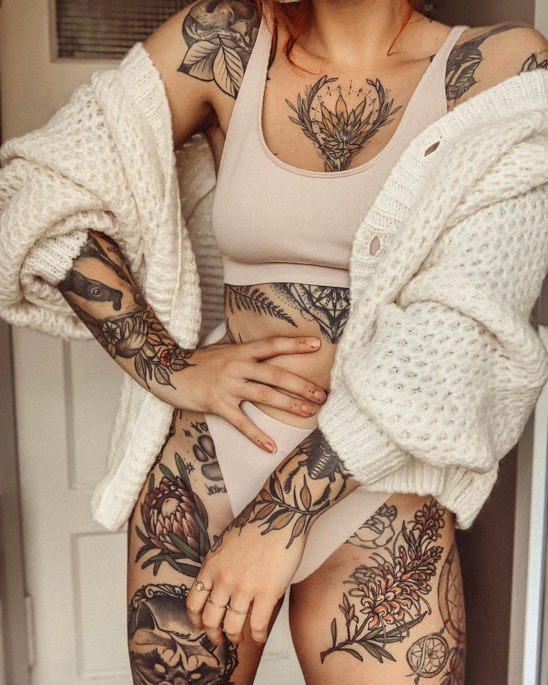 "Photo of Jule Popule on Instagram: ""Cardigan & underwear – a classic ❤️ # tattoo # inspo # ink"""