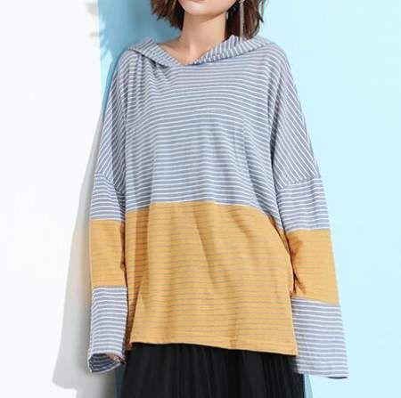 Oversize color block hoodie for women striped kangaroo pocket sweatshirt