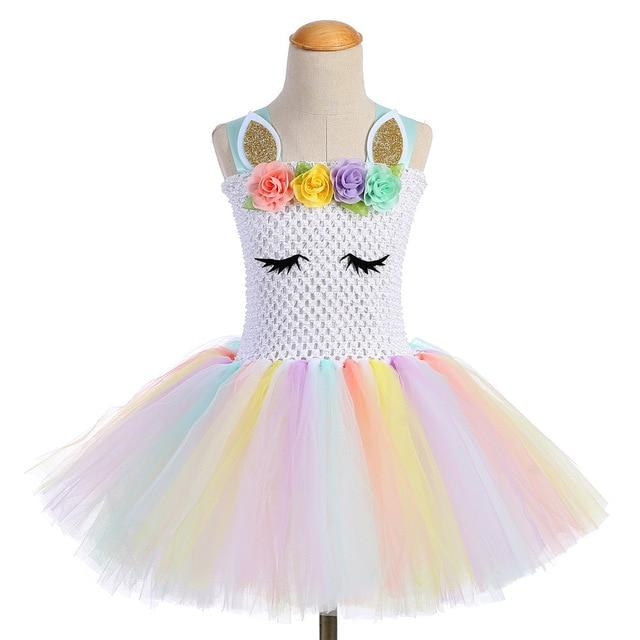 97ae656f087a Girls Princess Unicorn Tutu Dress Halloween Birthday Party Supplies Costume  Kids Pastel Rainbow Unicorn Christmas Dress