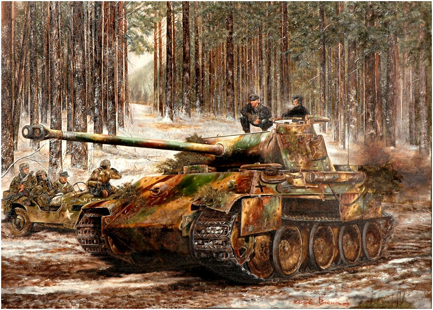 Peiper S King Tiger Tanks Battle Of The Bulge Ww2 War Art Ww2
