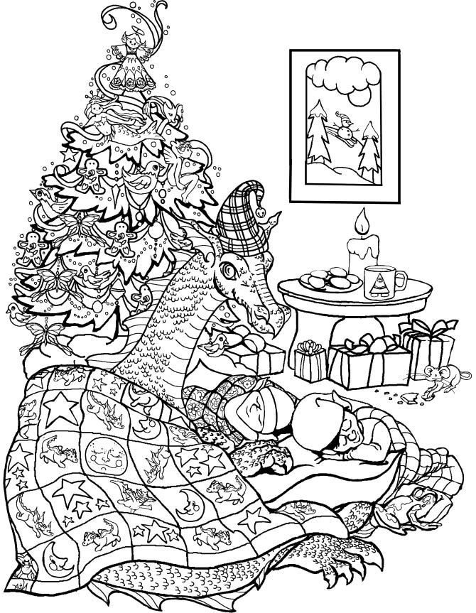 christmas tree elves and a dragon coloring page