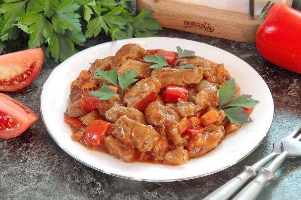 Индюшатина с овощами в томатном соусе   Рецепт (с ...