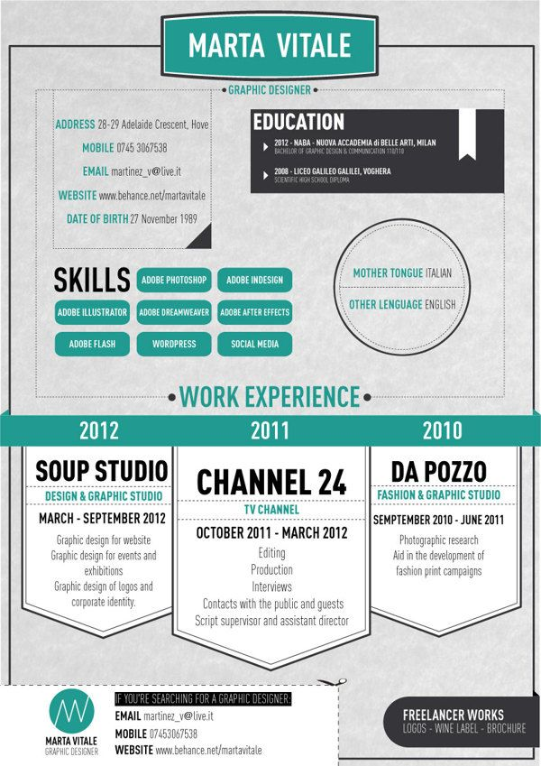 Graphic Cv On Behance Graphic Resume Infographic Resume