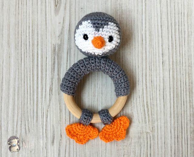 Mordedor pingüino a crochet, patrón gratis | Oyuncak yapımı ...