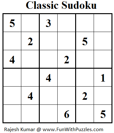 Classic Sudoku (Mini Sudoku Series #31) | Printable Puzzles