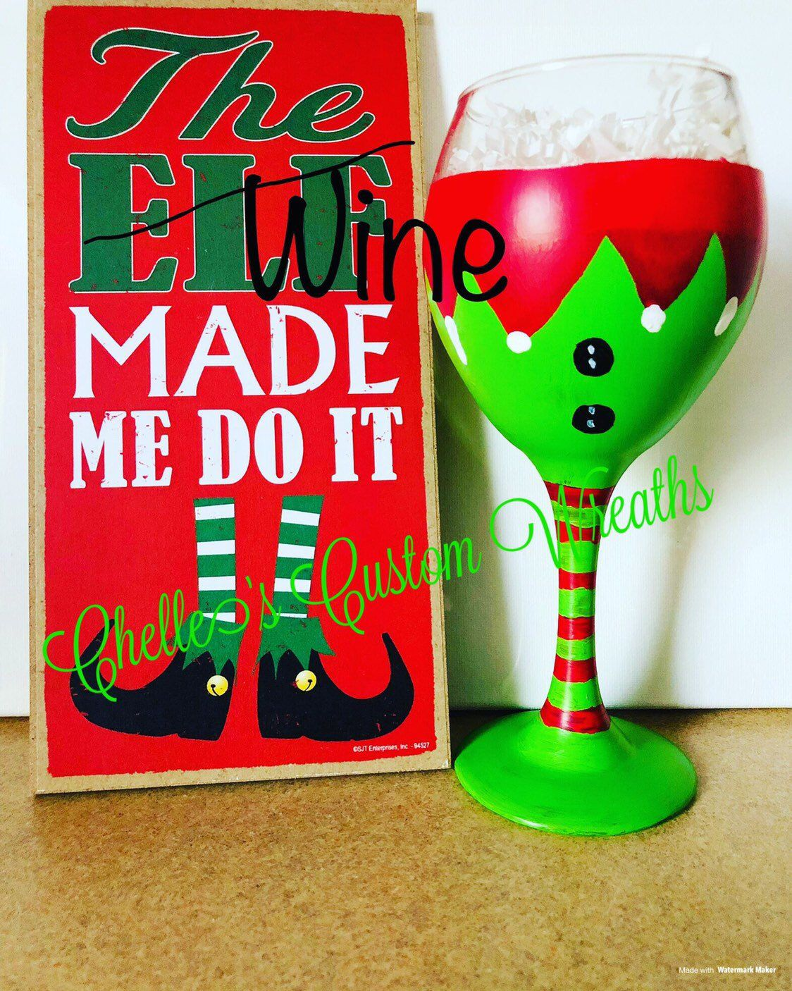 Excited To Share This Item From My Etsy Shop Elf Wine Glass Christmas Gift Custom Wine Glass Custom Painted Wine Glass Custom Wine Glass Painted Wine Glass