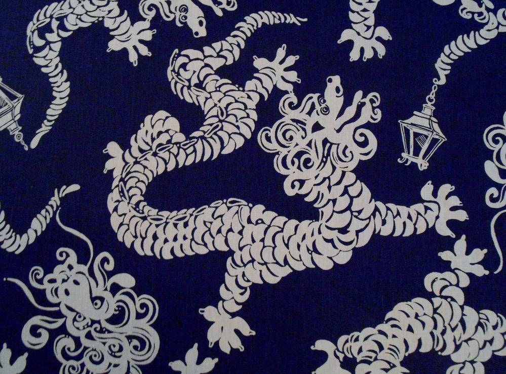 Lee Jofa LILLY PULITZER 'TAIL LIGHTS' Fabric Navy Chinoiserie 3yd MORE AVAILABLE