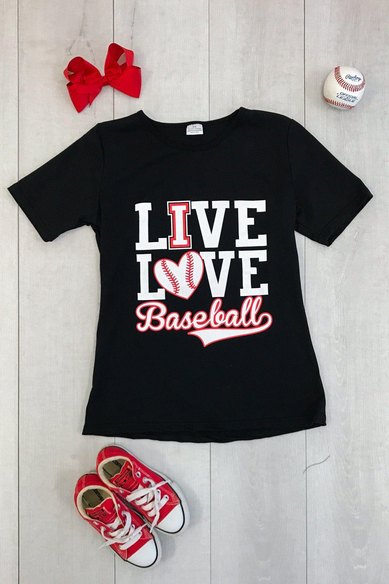 """Mom & Me BLACK """"Live, Love Baseball"""" TShirts Shirts"""