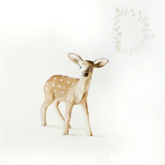 Pittura animalista Pet ritratto ritratto di cervi di inameliart;Rocktem#rockarouneurope#etsy finds