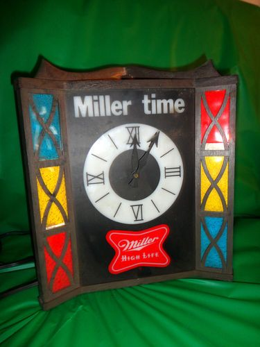 Miller beer mantlewall clock electric light up miller time works miller beer mantlewall clock electric light up miller time works bar decor find me aloadofball Gallery