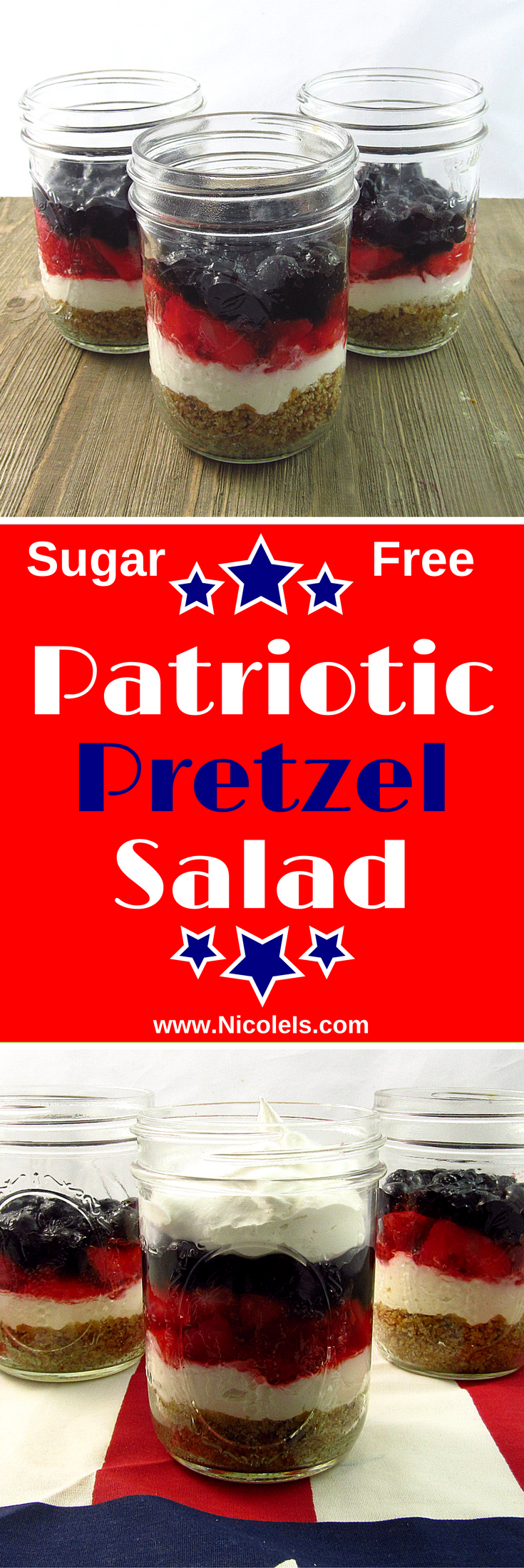 #strawberries #blueberries #patriotic #delicious #nicoleis #friendly #diabetic #memorial #pretzel #dessert #fresh #labor #salad #sugar #justSugar Free Patriotic Pretzel Salad Dessert Sugar Free Patriotic Pretzel Salad Dessert - with fresh strawberries and blueberries! Delicious dessert for Memorial Day, 4th of July, Labor Day, or just any ol' BBQ! Diabetic Friendly : nicoleisSugar Free Patriotic Pretzel Salad Dessert - with fresh strawberries and blueberries! Delicious dessert for Memoria... #labordayfoodideas