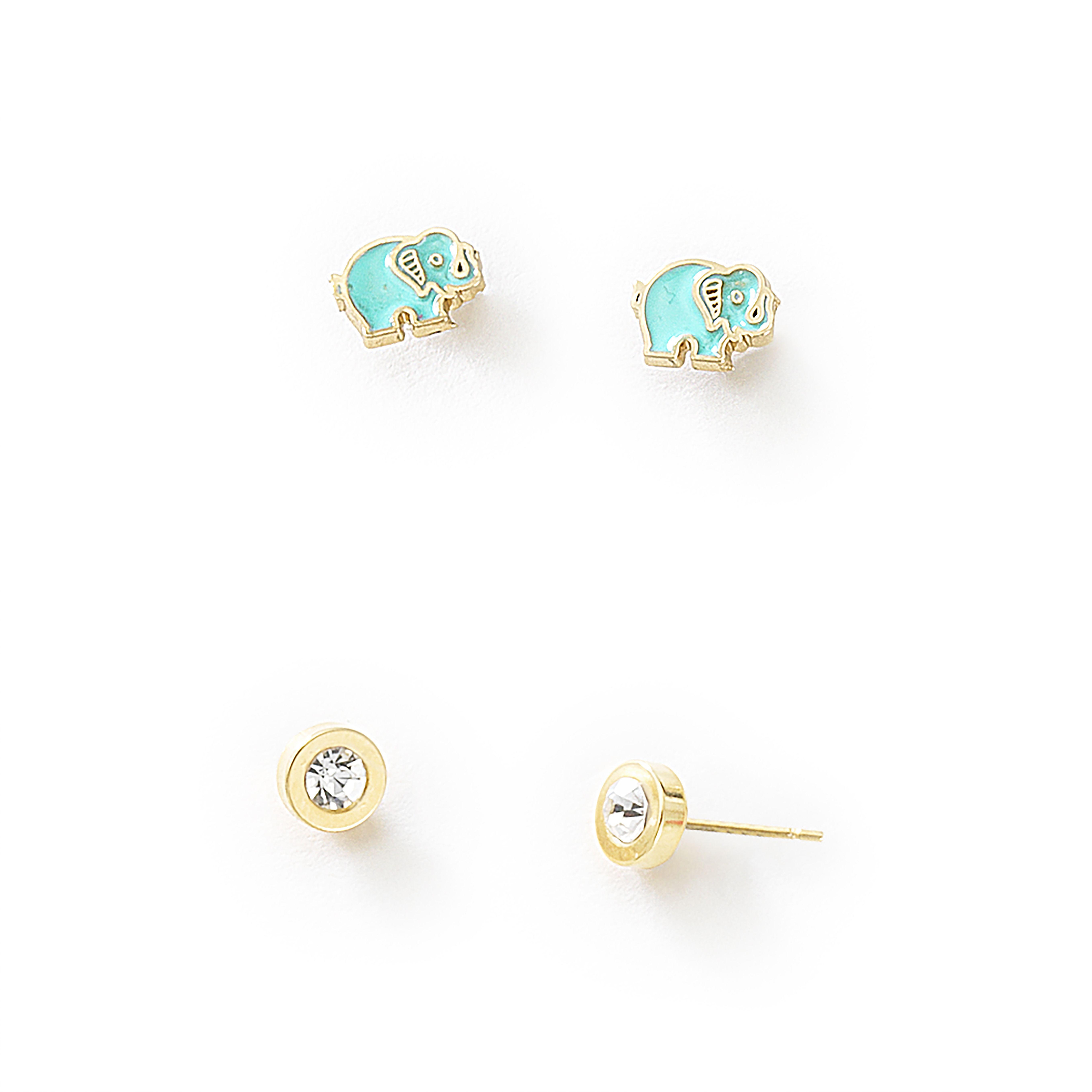 8730faf83779 Dos pares de aretes. Aretes pequeños en forma de elefante en color azul con  estructura en 4 baños de oro de 18 Kl. Aretes pequeños con piedra de  cristal ...