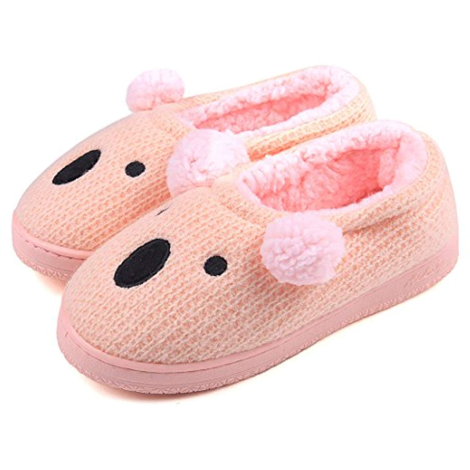 d80c54f9fc10ff Women Soft Cute Warm Winter Animal Slippers Knit Indoor House Shoes (6-6.5  B(M) US