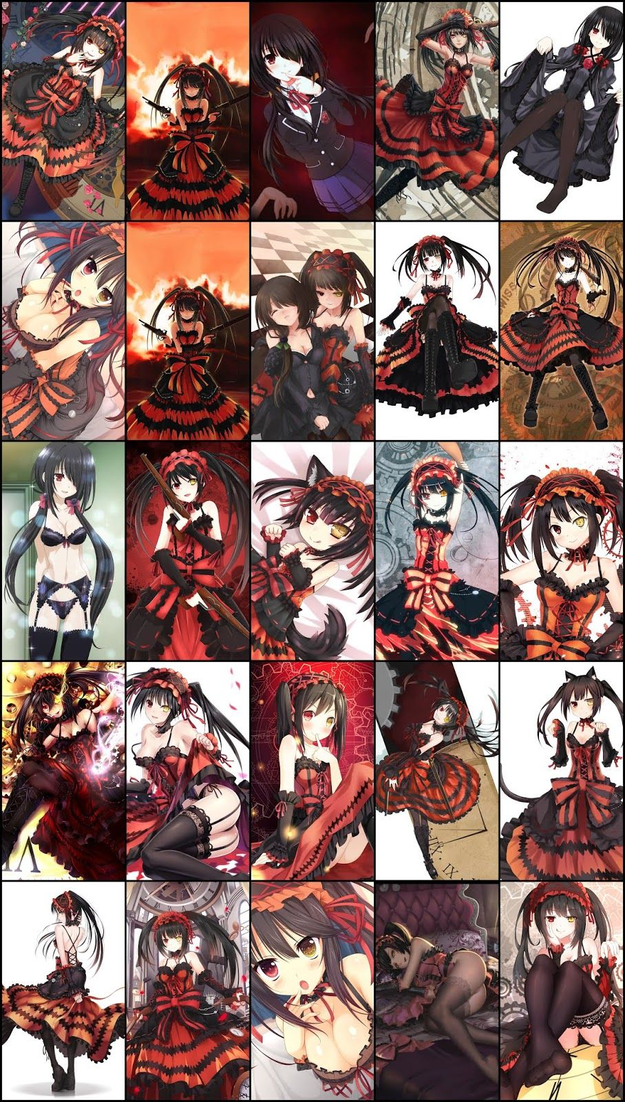 Date A Live Kurumi Tokisaki Wallpaper Pack For Mobile Phone Part 05 Seni Anime Ilustrator Gambar Manga