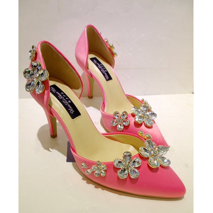 71.79$  Watch now - http://aivjx.worlditems.win/all/product.php?id=32728417278 - 2016 Spring Summer Socialite Stiletto Heel Pink Satin Flower Rhinestone Pointed High-heeled Shoes Women Wedding Party Shoes