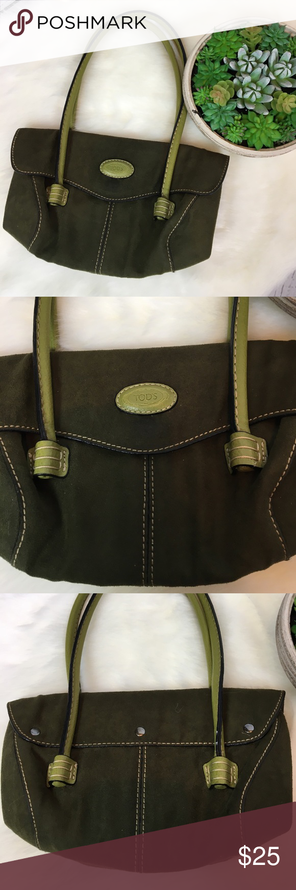 """TOD'S Small Green Retro Chic Suede Shoulder Tote Gorgeous TOD'S Small Shoulder Tote. This bag is in excellent condition from a smoke free home ... Smaller shoulder bag about 8"""" in height with 8"""" strap drop. Cute smaller bag for winter!! Tod's with olive green suede outer and green leather straps. Interior has zippered compartments. Perfect for St Pattys day!! Such a cute little thing!! Tod's Bags"""