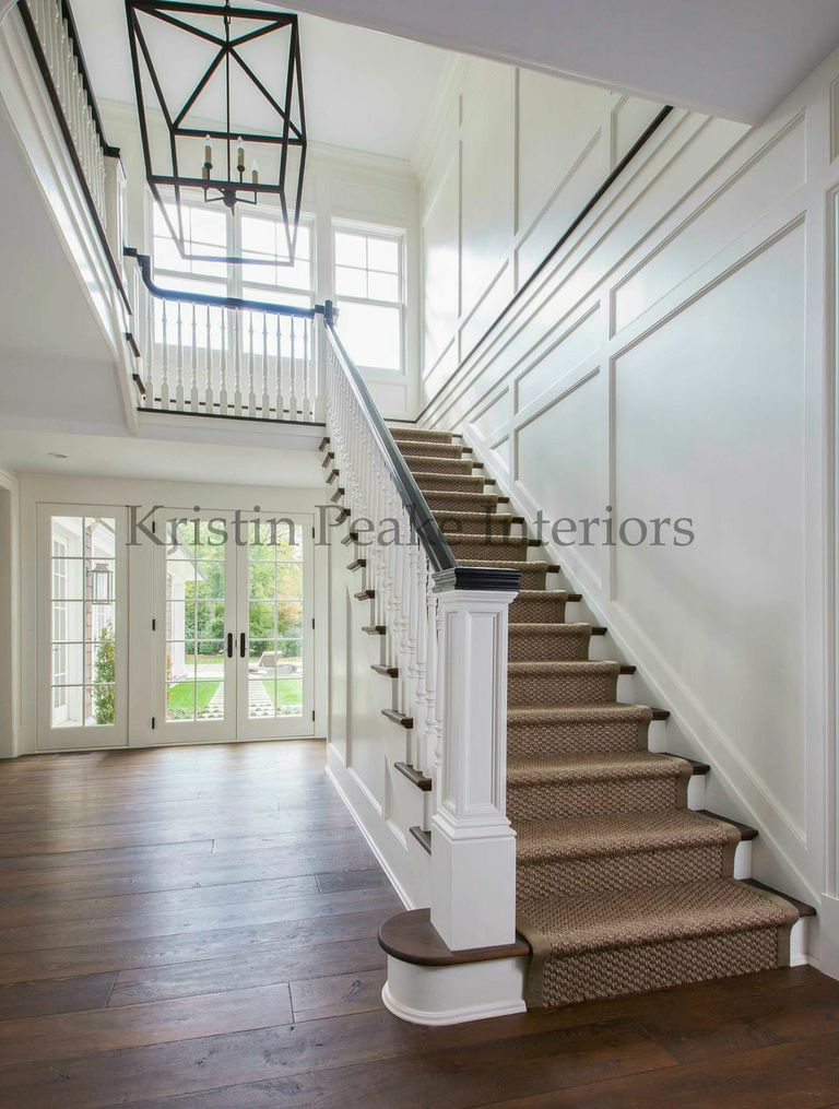 Foyer Staircase Runners : Foyer detail sisal custom stair runner and panelling