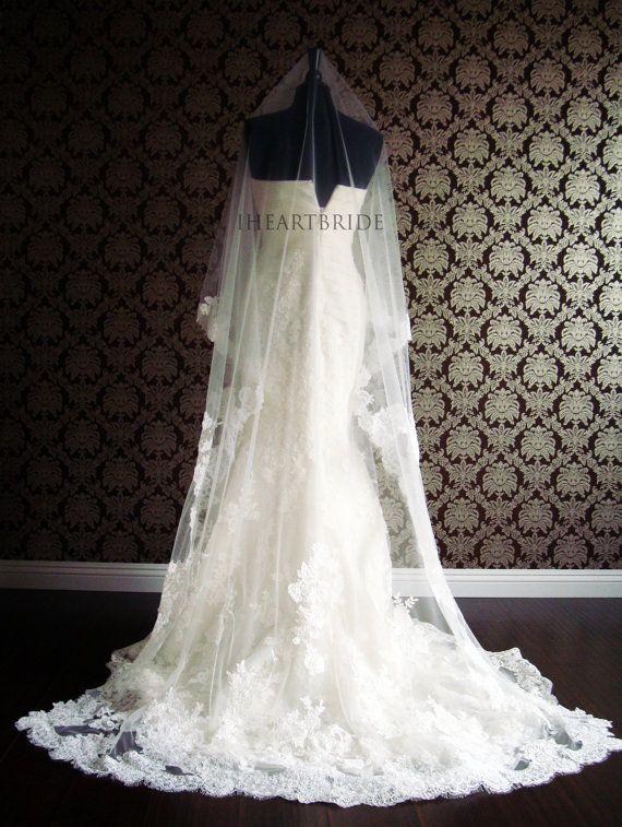 Luxury Couture Designer Lace Drop/Circle Veil Lace by IheartBride