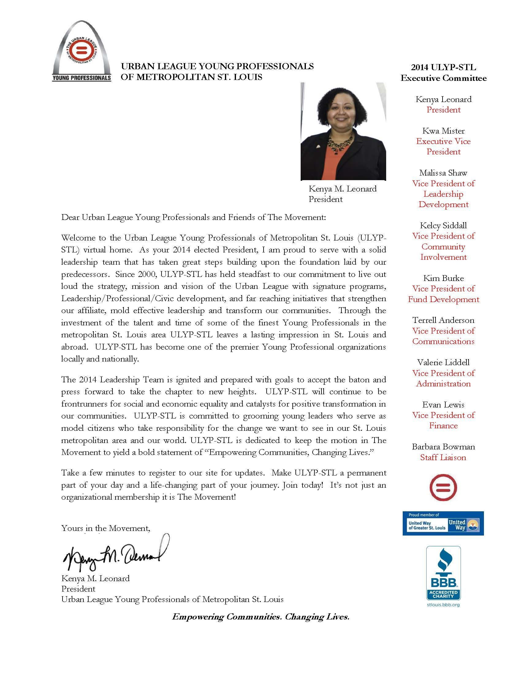 Presidents Welcome Letter Urban League Young ProfessionalsWelcome – Sample Welcome Letter