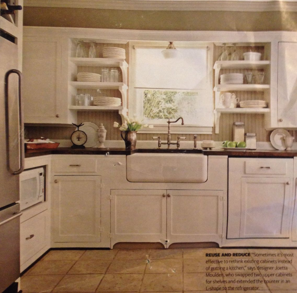 Shelf over kitchen window  love the white kitchen with the farm sink and open shelves the